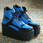 10cm Handmade Cyber Club Punk Black Electric Blue Vegan Hi Top Platform Sneaker