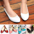 New Ladies Patent Flat Pumps Womens Ballerina Slip On Dolly Ballet Shoes