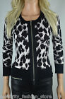 Karen Millen Black Contrast White Leopard Print Zip Cardigan Knit Top 1 8 36 New