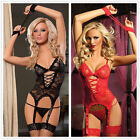 Black/Red Women Lace Sexy Lingerie Babydoll Nightwear Underwear G-string Stockin