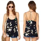 Sleeveless Backless Floral Chiffon Shirt Casual Blouse Vest Tank Top Cami B20E