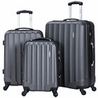 GLOBALWAY 3 Pcs Luggage Travel Set Bag ABS Trolley Suitcase w TSA Lock Gray