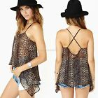 Sexy Women's Irregular Leopard Sleeveless Backless Tops Blouse T shirt Vest B20E