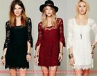 3/4 Bell Sleeve Square Neck Women's Twinset Lace Mini Dress Camisole Tank Tops
