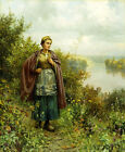 DANIEL RIDGWAY KNIGHT An Autumn Stroll PEACEFUL river scene woman in clogs NEW