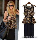 New Women Celeb Leopard Print Loose Casual Tunic Club Party Cocktail Long Dress