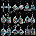 New Zelanian Abalone Shell Pearl Beads Dangle Earrings Pair Charm Jewelry BR038