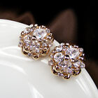 vintage antique jewellery 18K gold gp glass crystal rhinestone CZ round earrings