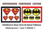 SUPERMAN BATMAN fancy dress CHILD SIZE arm hand TATTOOS waterproof  LAST1 WEEK+