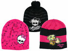 Girl's Monster High Emo Knitted Winter Beanie Skull Fashion Hat 3-12yrs NEW