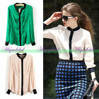 Korean Women Celeb Long Sleeve Lapel Chiffon Casual Shirt Blouse Tops T-shirt