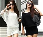 Hot Sexy Womens Off Shoulder batwing sleeve Hollow Knit Blouse Tops Mini Dress