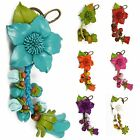 """Handmade"" Leather Flower Bag Charm Key Ring Keychain Lily Floral eba2"