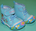 NEW Girl Butterfly flower Canvas Boots Shoes BlueToddler Size US 2,3,4,5,6,7