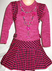 GIRLS DARK PINK BLACK DOG TOOTH PATTERN SHRUG WINTER PARTY DRESS with NECKLACE