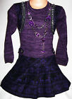 GIRLS PURPLE FAIRISLE PATTERN SHRUG WINTER PARTY DRESS with NECKLACE