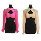 Womens Long Sleeve Lace Halter Stretchy Fitted Evening Cocktail Short Mini Dress