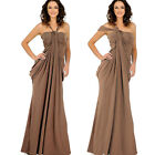 Halter Drape Roman Waterfall Formal Party Prom 2Way Convertable Maxi Gown Dress