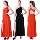 Womens Sexy One Shoulder Maxi Open Back Side Split Evening Party Cocktail Dress