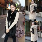 Women Winter Stylish Elegant Warm Faux Fur Hooded Long Vest Jacket Waistcoat E