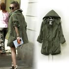 Women's Zip Hoodie Drawstring Military Trench Jacket Coat Parka Lady Outwear J