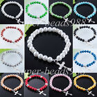 Fashion Jewelry Pearl Round Cross Beads Stretch Bracelet 7 1/4 Inches SBK141