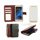 Leather Wallet Case Magnetic Flip For Samsung Galaxy S7 Edge +Screen Protector