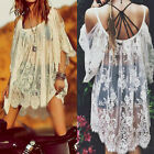 Vintage Beach Sexy Strap Backless Floral Lace Crochet Mini Party Dress Tops