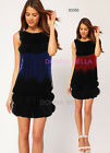 Donna Bella Embellished Ombre Tassel Cocktail Shift Black Little Dress
