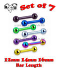 7 x TONGUE BARBELL BARS ANODIZED GOLD BLACK 14G STEEL BODY PIERCING RING A59
