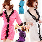 Women's Sexy Satin Lace Robe Sleepwear Lingerie Nightdress G-string Intimates