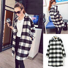 Womens College Plaid Long T shirt Pocket Coat Dress Turn Down Collar Tops Blouse