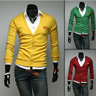 Mens Stylish Slim Fit V-neck Knitted Sweater Jumpers Cardigan-AU JR