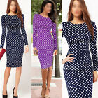 Womens Pinup Polka Dot Ruched Party Cocktail Bodycon Shift Pencil Midi Dress