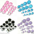 Hot Glitter Acrylic Saddle Double Flared Ear Tunnel Plug Stretcher Expander Gift
