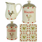 KITCHEN ACCESSORIES - COFFEE CERAMIC CANISTERS JUG & COASTERS - COUNTRY HEART