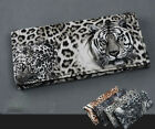 Lady Cute Tiger Leopard Print Long Wallet Purse Coin Bag Card Holder Clutch AUJR