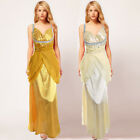 Donna Bella Wrapped V neck Scooped Bridesmaid Pleated Party Prom Gown Maxi Dress