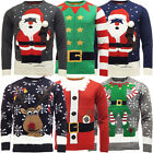Mens Christmas Jumper Santa Raindeer X-Mas Elf Knitwear New S M L XL