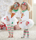 2 PCS baby girl clothes kids Christmas set  t-shirt +skirt outfits for 1-5Y 1456