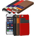 Leather Credit Card Holder Pouch Hard Cover Wallet Hybrid Case For iPhone 5 5S