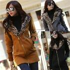 Women Winter Leopard Hoodie Sweater Top Zip Jumper Fleece Jacket Coat Sweatshirt