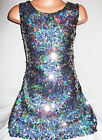 GIRLS 60s STYLE SPARKLING SILVER GLITZY HOLOGRAPHIC SEQUIN DANCE PARTY DRESS
