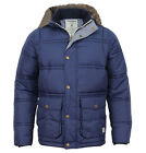 Jack & Jones Andy Mens Designer Padded Hooded Parka Jacket Dress Blues