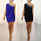 Womens One Shoulder Cocktail Clubbing Mini Day Holiday Party Bodycon Short Dress