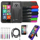 For Nokia Lumia 530 Case Hybrid Rugged Cover Stand+ USB Charger +LCD +Pen 4in1