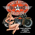 Last Stop Full Service Gas Station Biker Motorcycle Girl Pocket Tee T Shirt