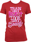 Train Like A Beast Look Like A Beauty Exercise Weight Lifting Juniors T-shirt