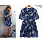Womens Floral Print Short Sleeve Blue Casual Chiffon Party Mini Dress S M L XL