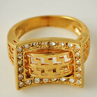 Yellow Gold Filled Clear Cubic Zirconia Men's/Women's Rings 7-8# D3679-D3680